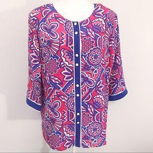 Bob Mackie Wearable Art 100% silk blouse large